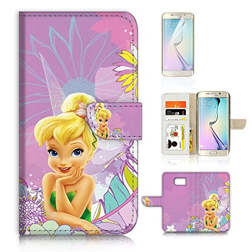 ( For Samsung S7 Edge , Galaxy S7 Edge ) Flip Wallet Case Cover & Screen Protector Bundle - A8462 TinkerBell