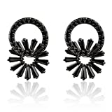 Bishun 925Sterling Sliver Hypoallergenic Black Cubic Zirconia Stud Earrings, Daisy Flower Crystal Earrings Studs
