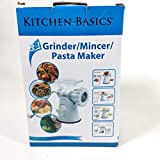 Kitchen Basics 3-In-1 Meat Grinder and Vegetable Grinder/Mincer, 3 Size Sausage Stuffer, Pasta