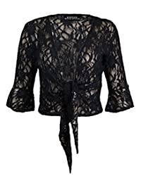 NEW WOMENS LADIES PLUSSIZE FLORAL LACE SEQUIN 3/4SLEEVE TIE UP SHRUG BOLERO TOPS