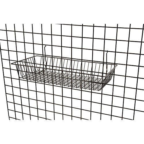 """Black Wire Baskets for Slatwall, Gridwall or Pegboard (Set of 2), Merchandiser Baskets, Perfect for Retailers or Home Use, Black Vinyl Coated Wire Baskets, 24"""" L x 12"""" D x 4"""" H, Shallow Baskets by Only Garment Racks (Image #2)"""