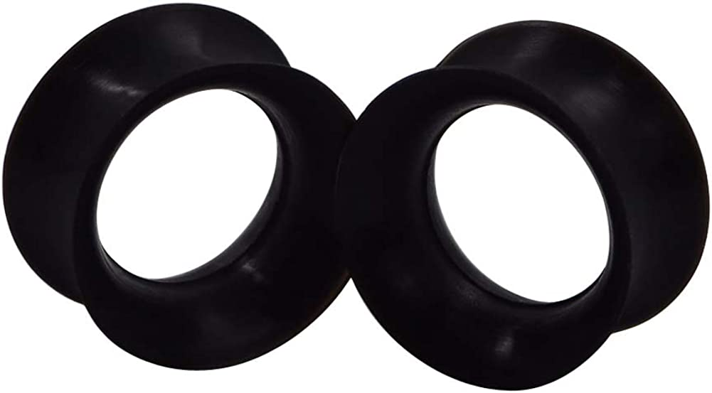 Stuppendux 1 Pair Black Soft Silicone Flexible Ear Skin Tunnels Plugs Expanders Gauges Hollow Body Piercing 5//8 16mm