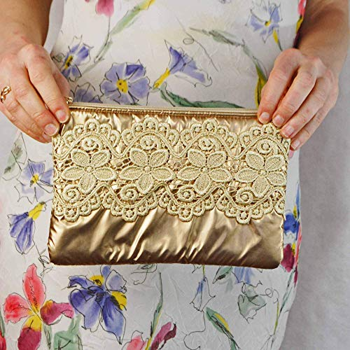 - Golden Laces Zippered Pouch, Glamour Wedding Purse, Metalic Gold Bridal Handbag, Evening Clutch