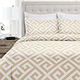 quilt double bed - Italian Luxury Greek Key Pattern Duvet Cover Set - 3-Piece Ultra Soft Double Brushed Microfiber Printed Cover with Shams - Twin/TwinXL - Cream/White