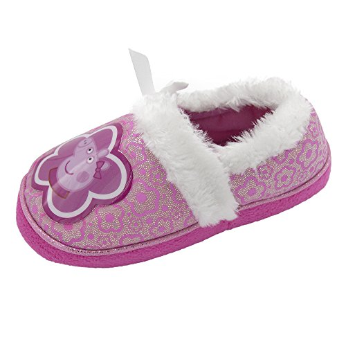 (Peppa Pig Girls Slip On Slippers Purple & Silver Extra Small)