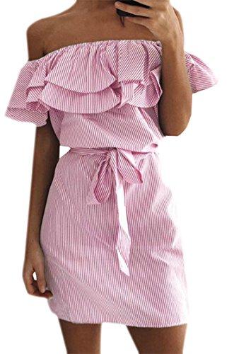 Womens Pink Ruffled Dress Elastic Pleated Bodycon Mini Cromoncent Belt Sexy Striped UTaqddf