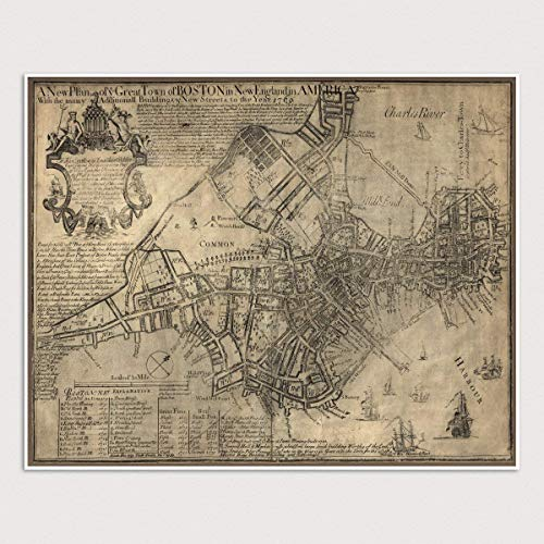 Amazon Com Antique Boston Map Art Print Massachusetts 1769
