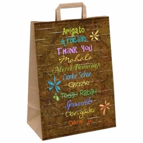 25 Stk. 1-PACK Papiertragetaschen mit Motiv DANKE in 11 Sprachen, 260+120x350mm / Mit diesen Taschen steigern Sie die Kundenbindung und den Erinnerungswert Ihrer Kunden an den Einkauf in Ihrem Laden