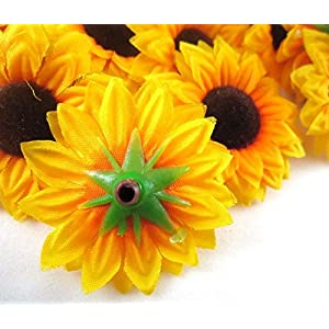 ELEOPTION 100PCS Beautiful Artificial Flowers Yellow Sunflowers Sun Flower Heads For Embellishing Weddings, Parties, Hair Clips, Headbands, Hats, Clothes, Bows, Craft work 3