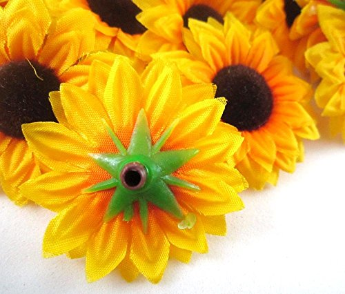 ELEOPTION-100PCS-Beautiful-Artificial-Flowers-Yellow-Sunflowers-Sun-Flower-Heads-For-Embellishing-Weddings-Parties-Hair-Clips-Headbands-Hats-Clothes-Bows-Craft-work