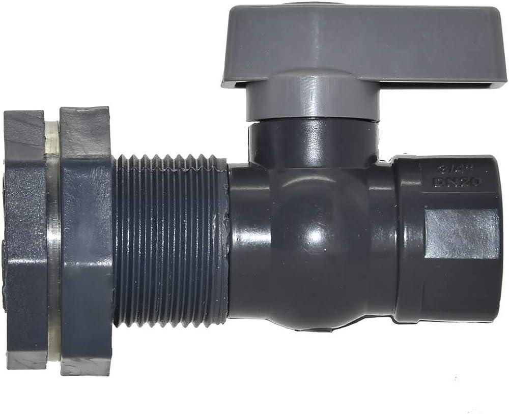 PVC Rain Barrel Garden Spigot Kit - 3/4 Inch Rain Barrel Valve with Bulkhead Fitting Adapter for Water Tanks, Aquariums, Tubs, Pools