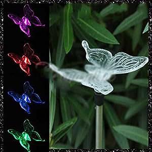 Gogogo funciona con energía solar colores cambiantes LED luz lámpara para jardín Patio césped Festival Fiesta D ¨ ¦ cor (tipo de bombilla: diseño de mariposas)