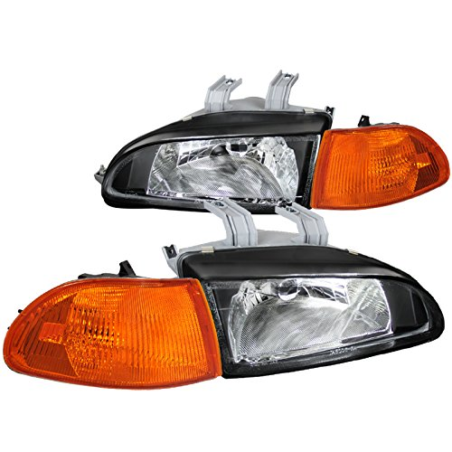 Honda Civic 4Dr 4D Black Head Lights, Amber Corner -