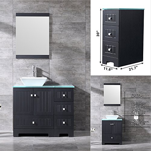 Bestmart INC 36'' Bathroom Vanity Cabinet Ceramic Vessel Sink Basin Faucet Mirror and Free Drain - 36' Bathroom Vanity Top