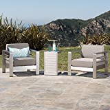 Crested Bay Patio Furniture ~ Outdoor Aluminum Patio Chairs with Side Table (Chat Set)(Khaki/Silver) Review