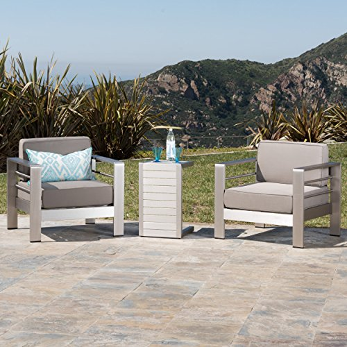 Christopher Knight Home 300476 Crested Bay Outdoor Aluminum Patio Chairs with Side Table (Chat Set)(Khaki/Silver) - Aluminum Patio Club Chair