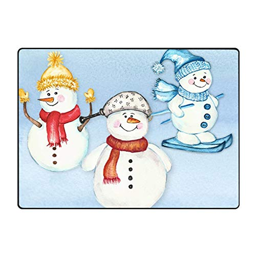 CFLY Skating Snowman Printed Slip Resistant Rubber Back Runner Rug and Area Rugs 60 × 39