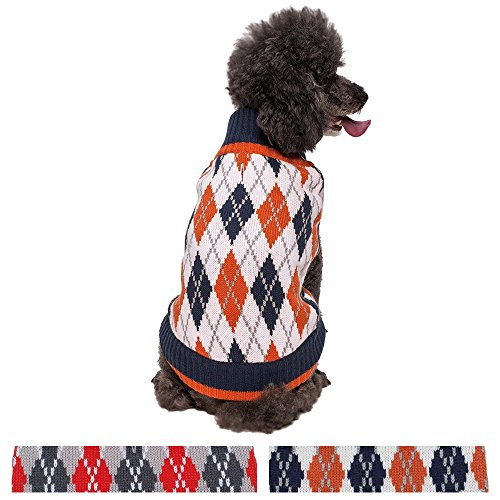 "Blueberry Pet Chic Argyle All Over Dog Sweater in Midnight Blue and Dark Princeton Orange, Back Length 10"", Pack of 1 Clothes for Dogs"