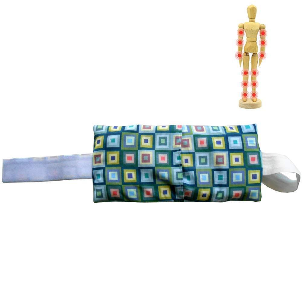 Coussin chauffant 'Kubic' 39 x16cm (L) - rempli de noyaux de cerise - Idé al pour: coude, poignet, bras, cheville, genou et jambe - 400gr