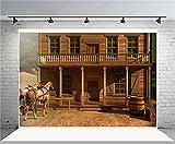 (US) AOFOTO 7x5ft Vintage Wood House Backdrop Horse Photography Background Cowboy Adult Man Artistic Portrait Old Wild West Rustic Retro Nostalgia Photo Shoot Studio Props Video Drop Vinyl Wallpaper Drape