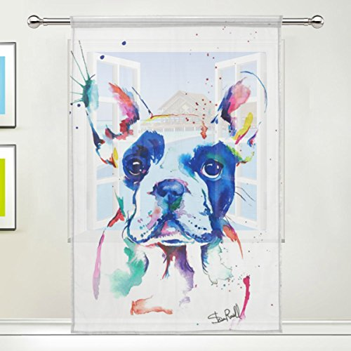 Watercolor Cartoon Dog Print Tulle Voile Door Window Room Sheer Curtain Drape 1 Panel Scarf Valances Wide Width Gauze Curtain for Bedroom Single panel 55x78x1(in)