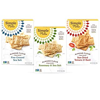 Simple Mills, Snacks Variety Pack, Fine Ground Sea Salt, Rosemary & Sea Salt, Sun-dried Tomato Basil Variety Pack, 3 Count (Packaging May Vary)