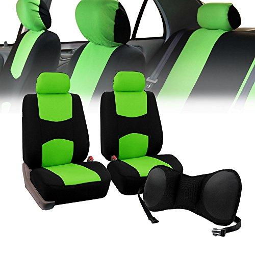 FH-FB050102 Pair Set Flat Cloth Car Seat Covers w. FH1005 Portable Lumbar Seat Cushion, Green / Black- Fit Most Car, Truck, Suv, or - Green Ferrari