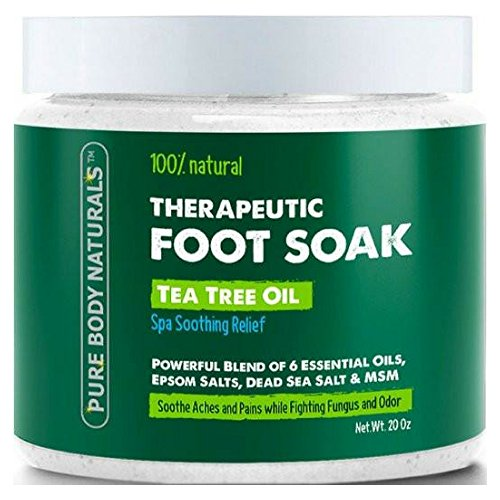 Tea Tree Oil Foot Soak, 100% Natural with Epsom and Dead Sea Salts, Foot Fungus, Athletes Foot, and Toenail Anti Fungal Treatment, Tired Feet Relief - by Pure Body Naturals - 20 Ounce (Large)