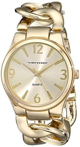Vernier Women's VNR11081YG Gold-Tone Metal Interlocking Chain Bracelet Watch