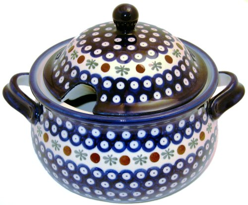 Euroquest Imports Bunzlauer Polish Pottery 3-Quart Terrine with Lid in Country Blue Pattern 1004-41A