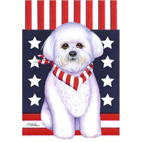 Best of Breed Bichon Frise Patriotic Breed Garden Flag For Sale