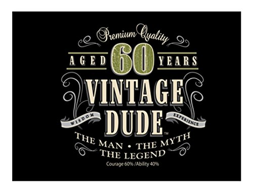 1/4 Sheet Cake - Vintage Dude 60th Birthday - Edible Cake or Cupcake Topper - D20375