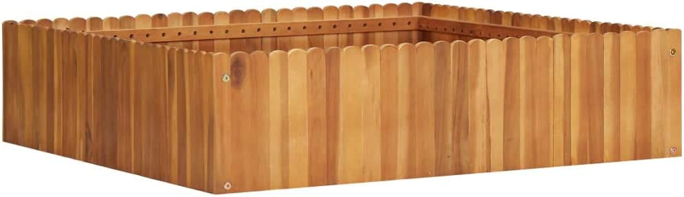 "Festnight Garden Planter, Wooden Raised Garden Bed Slatted Design Flower or Plant Bed 39.3""x39.3""x9.8"" Solid Acacia Wood"