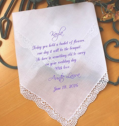 Wedding handkerchief for Flower Girl, Flower Girl Gift, wedding gift, Today you hold a BASKET of FLOWERS, PRINTED Hankie, hanky, LS5FCAC by (Flower Girl Handkerchief)