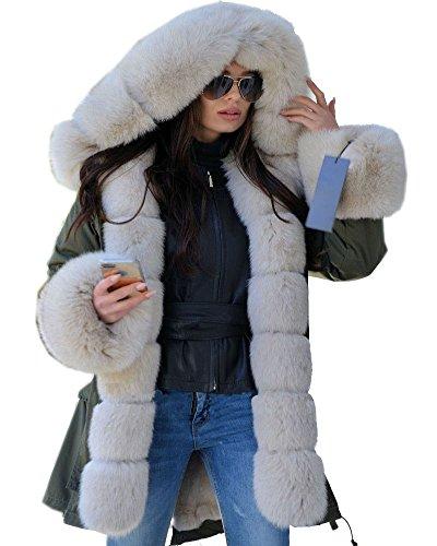 Roiii Women Winter Warm Thick Faux Fur Coat Hood Parka Long Jacket Size 8-18 Milk Amry