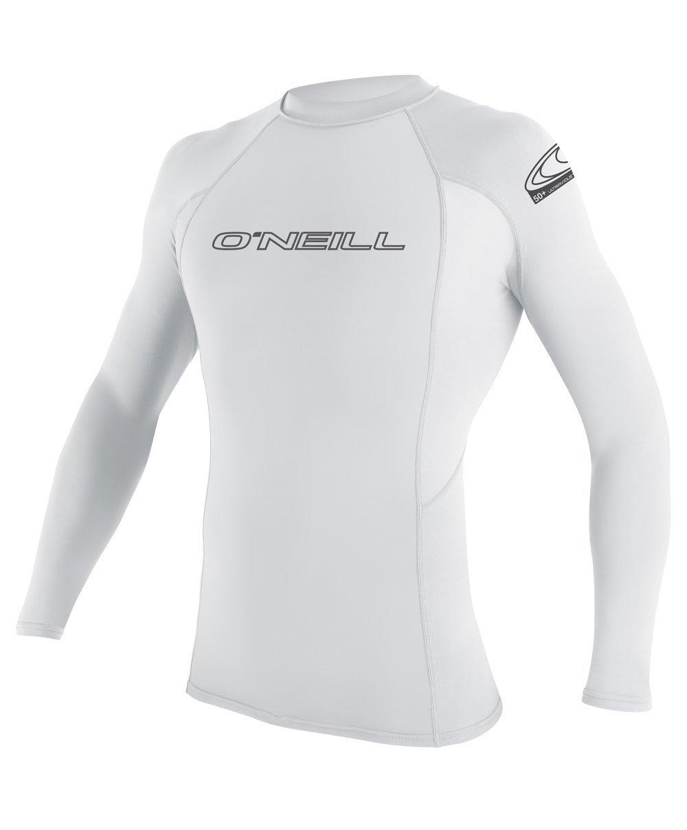 O'Neill Men's Basic Skins UPF 50+ Long Sleeve Rash Guard, White, Small