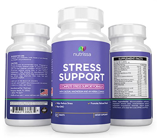 Stress and Anxiety Relief Supplement - Vitamins B and C, Calcium, Magnesium, PABA, Pantothenic Acid, Folic Acid, Hops, Chamomile, Valerian, and Passion Flower - 90 Tablets Anxiety Vitamins