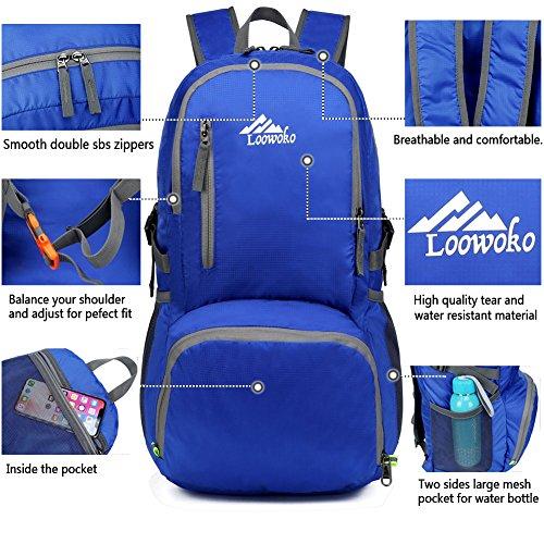 Plein À Léger Imperméable Sports Pliable Bleu Voyage De Randonnée Ultra Pour 25l Camping Sac Loowoko Femme Homme Air Dos léger Compact tFq5xB8B