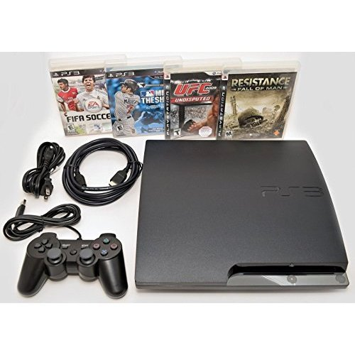 (Sony Playstation 3 Slim 250gb Game Console System PS3 Bundle with 4 games MLB 10 FIFA 11 UFC Resistance)