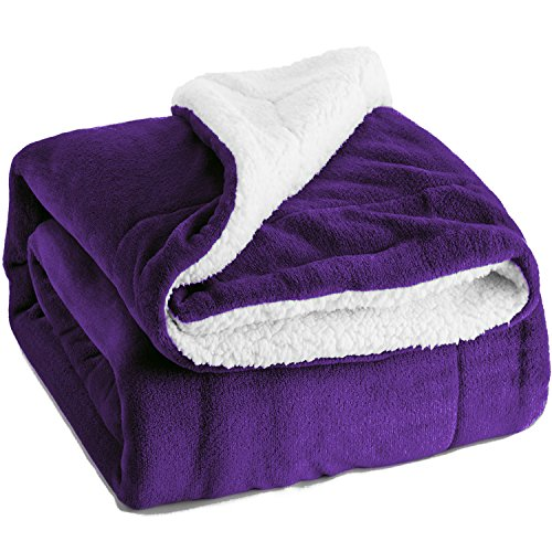 Bedsure Sherpa Throw Blanket Purple Twin Size Reversible Fuz