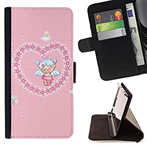 DEVIL CASE - FOR HTC One M7 - Cute Angel Heart Love - Style PU Leather Case Wallet Flip Stand Flap Closure Cover