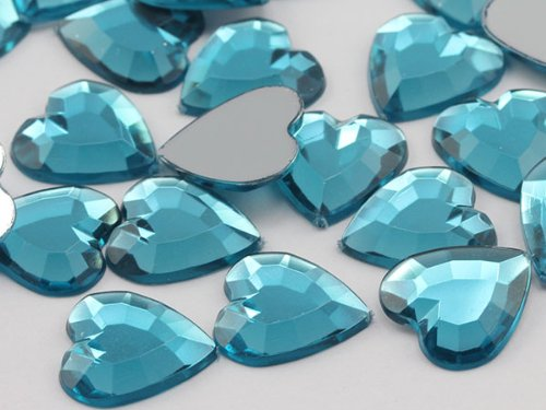 15mm Aqua Lite .QR120 Flat Back Heart Acrylic Jewels High Quality Pro Grade - 45 Pieces -