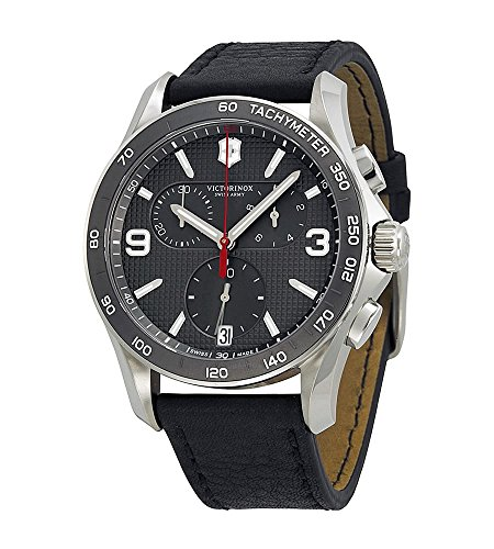 Victorinox Chrono Classic Slate Grey Dial Black Leather Strap Mens Watch 241657