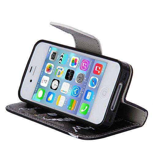 iPhone 4 / 4S Coque , Apple iPhone 4/4S Coque Lifetrut® [ Don't Touch My Phone ] Luxe Premium Portefeuille Flip mignon Coque TPU souple Folio en cuir PU intégré dans la carte Slots Coque Etui pour App