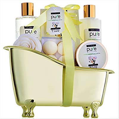 Jasmine & Rose Valentines Deluxe Spa Gift Basket for Women. Voted #1 Valentine Gift for Wife! Bath Bombs, Bath Salts, Body Butter, Bubble Bath & More!