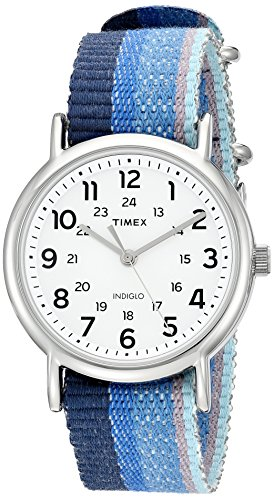 Timex Unisex TW2R102009J Weekender Blue Striped Denim Slip-Thru Strap Watch
