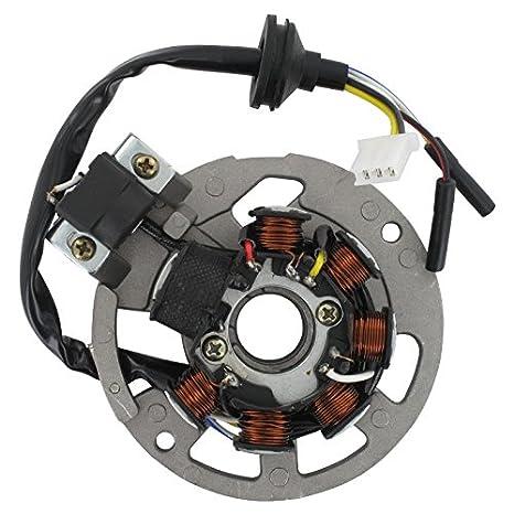 Xfight-Parts Ankerplatte mit Pick-up aussenliegend 5 Kabel 1x3 und 2x1 Pol 2Takt 50 ccm liegender Minarelli Motor AC//LC 1E40QMB Kreidler RMC-E Hiker DD Sport