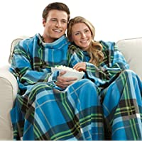 Snuggie Soft Fleece Blanket with Sleeves and Pockets,...