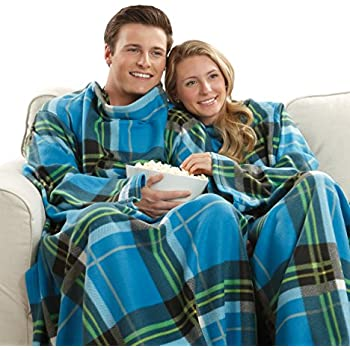 Snuggie Soft Fleece Blanket with Sleeves and Pockets, Blue Plaid
