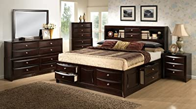 Roundhill Furniture Ankara Construction Bedroom Set, Includes Queen Bed, Dresser Mirror with 2 Nightstands, Espresso Wood